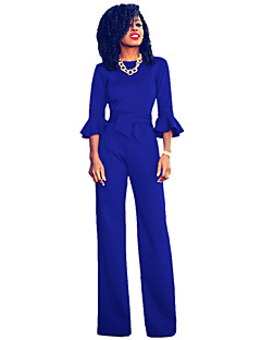 Women's Work Casual/Daily Street chic Solid Round Neck Jumpsuits,Wide Leg ¾ Sleeve Spring Summer Fall Polyester