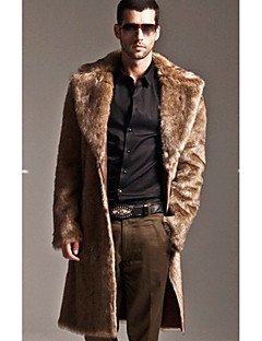Men's Daily Going out Street chic Winter Fur Coat,Solid V Neck Long Sleeve Long Faux Fur