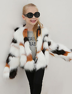 cheap Girls' Clothing-Girls' Patchwork Jacket & Coat, Wool Rabbit Fur Raccoon Fur Winter Fall Long Sleeves Rainbow