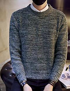 Normal Pullover Fritid/hverdag Enkel Herre,Ensfarget Rund hals Langermet Polyester Vinter Medium Mikroelastisk
