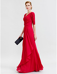 cheap Mother of the Bride Dresses-Sheath / Column V Neck Floor Length Chiffon Corded Lace Mother of the Bride Dress with Criss Cross by LAN TING BRIDE®