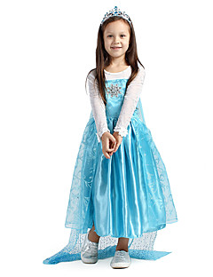 Cosplay Costume Fairytale Princess Blue Bling Bling Rhinestone Brooch Chiffon Snow Princess Girls' Elsa Halloween Dress