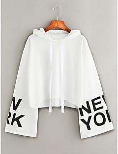 tanie Damskie bluzy z kapturem-Damskie Moda miejska Bawełna Bluza z Kapturem - Litera