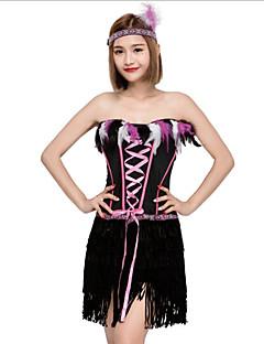 billige Halloweenkostymer-Flapper Girl Cosplay Kostumer Jul Halloween Karneval Oktoberfest Nytt År Festival / høytid Halloween-kostymer Svart Helfarge Mote