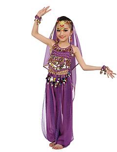 Buikdans Outfits Kinderen Optreden Polyester Chiffon Pailletten Mouwloos Natuurlijk Topjes Broeken Armbanden Hoofddeksels