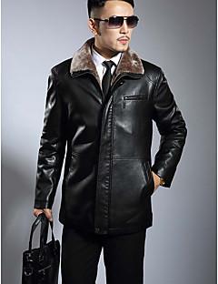 メンズ プラスサイズ 冬 レザージャケット,シンプル スタンド ソリッド レギュラー Lambskin 長袖