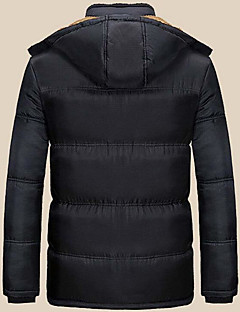 Men's Regular Padded Coat,Casual Daily Going out Solid-Polyester Polyester Long Sleeves Hooded