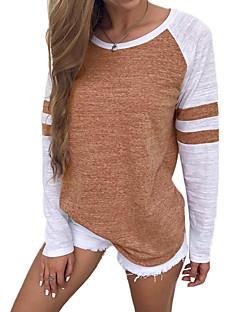 baratos -Feminino Camiseta Casual Sólido Poliéster Decote Redondo Manga Longa