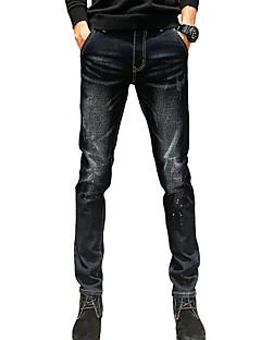 Herre Mikroelastisk Skinny Jeans Bukser,Tynn Mellomhøyt liv Ensfarget Regnbue