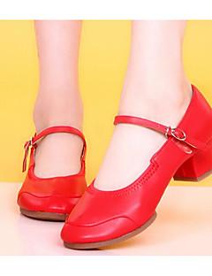 Feminino Moderna Pele Real Salto Ensaio/Prática Salto Robusto Preto Fúcsia Vermelho Personalizável