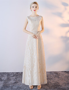 Sheath / Column Bateau Neck Ankle Length Cotton Mikado Formal Evening Dress with Lace by Embroidered Bridal
