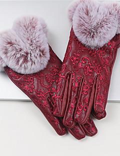 レディース 冬 ピュア アクセサリー 冬物手袋 防水 保温 防風 ラビット ポリウレタン ジャカード織 手首丈 指先