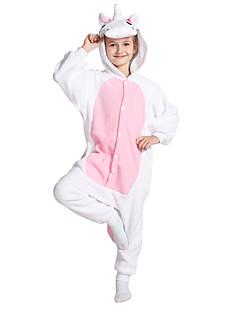 Kigurumi 파자마 Unicorn 코스츔 핑크 폴라 플리스 긴 소매의 몸에 착 달라붙는 원피스 / 올인원 코스프레 페스티발 / 홀리데이 동물 잠옷 할로윈 솔리드 에 대한 키드 할로윈 크리스마스 카니발 어린이날 새해