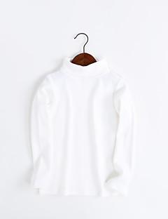 Jente T-skjorte Ensfarget Bomull Vår Høst Langermet Normal
