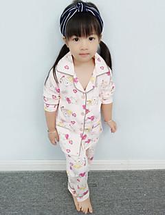 Para Meninas Roupa de Dormir Estampado Outono-Algodão-Manga Comprida