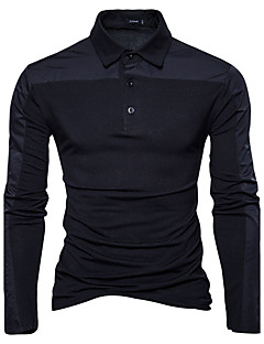 Men's Daily Going out Casual Active Chinoiserie Spring Fall Polo,Color Block Shirt Collar Long Sleeves Cotton