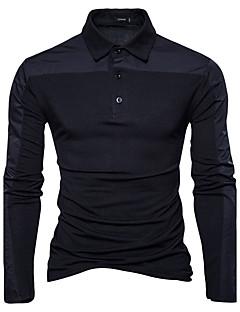 Bomull Langermet,Skjortekrage Polo Fargeblokk Vår Høst Enkel Aktiv Chinoiserie Ut på byen Fritid/hverdag Herre