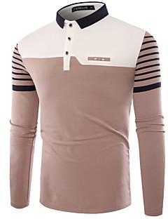 Herren Druck Einfach Lässig/Alltäglich T-shirt,Hemdkragen Langarm Baumwolle 20D