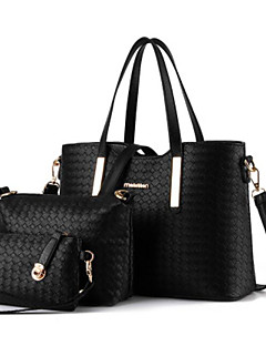cheap -Women's Bags PU(Polyurethane) Bag Set 3 Pcs Purse Set Zipper Black / Silver / Wine