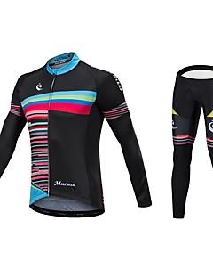 Malciklo Sykkeljersey med tights Unisex Langermet Sykkel Jersey Bunner Reflekterende Stripe Fort Tørring Anatomisk design Lavfriksjons