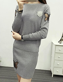 Women's Daily Simple Fall Winter Sweater Dress Suits