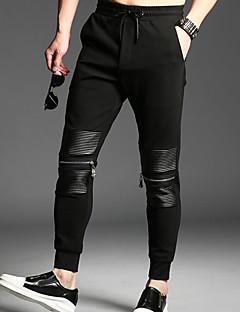 Miehet Yksinkertainen Mikrojoustava Chinos housut Housut,Chinos housut Keski vyötärö Yhtenäinen