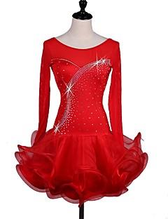 お買い得  -ラテンダンス ドレス 女性用 ダンスパフォーマンス スパンデックス カスケーディングラッフル 長袖 ドレス