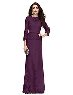 cheap Mother of the Bride Dresses-Sheath / Column Bateau Neck Floor Length All Over Lace Mother of the Bride Dress with Bow(s) Sash / Ribbon by LAN TING BRIDE®