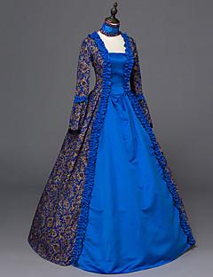 Wiktoriańskie Rococo Bayanların Tek-parça Elbiseler Mavi Cosplay Uzun Kollu Yere Kadar
