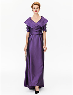 cheap Mother of the Bride Dresses-A-Line Princess V-neck Asymmetrical Satin Stretch Satin Mother of the Bride Dress with Flower(s) Pleats Ruching by LAN TING BRIDE®