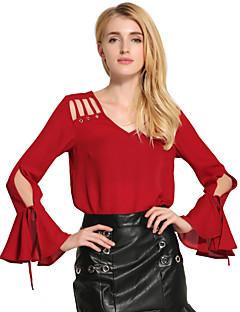 Feminino Camiseta Feriado Casual Vintage Moda de Rua Inverno Primavera/Outono,Sólido Oco Vintage Algodão Ecológico Poliéster Decote V