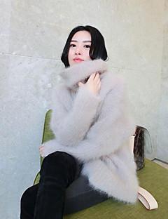 Dames Uitgaan Normaal Pullover Effen-Coltrui Lange mouw Katoen Medium Micro-elastisch