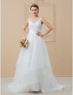 billiga Plusstorlek brudklänningar-A-linje Illusion Halsband Svepsläp Chiffong / Spets med pärlor Bröllopsklänningar tillverkade med Applikationsbroderi av LAN TING BRIDE®