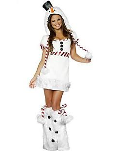 billige julen Kostymer-Ferie Dyremønster julenissen Drakter Kvinnelig Jul Festival / høytid Halloween-kostymer Hvit Ensfarget