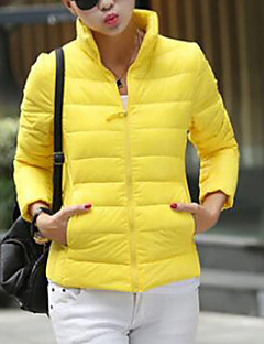 Women's Down Coat,Casual Daily Solid-Polyester Gray Duck Down Long Sleeves Standing Collar
