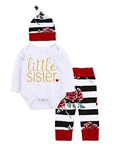 billige Babytøj-Baby Pige Tøjsæt Afslappet/Hverdag Dagligdagstøj Blomstret Stribe, Bomuld Vinter Forår/Vinter Langærmet Blomster Sweet Style Hvid