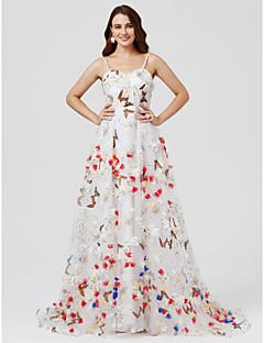 Aライン プリンセス キャミソール スイープ/ブラシトレーン オーガンザ フォーマルイブニング ドレス とともに フラワー 〜によって TS Couture®
