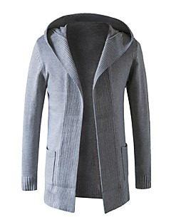 tanie Męskie swetry i swetry rozpinane-Męskie Praca Moda miejska Kaptur Długi Rozpinany Jendolity kolor Długi rękaw