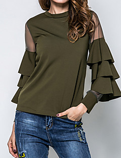 Women's Party Going out Street chic Spring Fall Blouse,Solid Round Neck Long Sleeves Cotton Polyester Medium