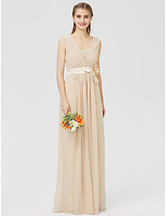 cheap Going Neutral-Sheath / Column V Neck Floor Length Chiffon Bridesmaid Dress with Sash / Ribbon Pleats Flower by LAN TING BRIDE®