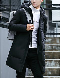 コート ダウン メンズ,お出かけ カジュアル/普段着 ソリッド ポリエステル シンプル 長袖