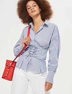 Bomull Langermet,Skjortekrage Skjorte Stripet Gatemote Andre Dame