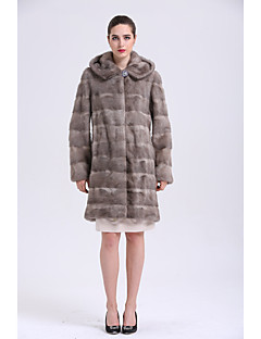 BF-Fur Style Women's Going out Simple Winter Fur Coat,Solid V Neck Long Sleeves Long Fox Fur