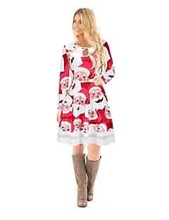 billige julen Kostymer-julenissen Badedrakt Kjoler Julkjole Festival / høytid Halloween-kostymer Rød
