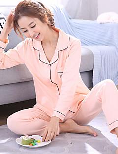 tanie Piżamy-Damskie Kołnierzyk koszuli Kostiumy Piżama Jendolity kolor