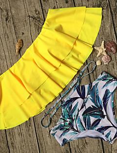 billige Bikinier og damemote 2017-Dame Løse skuldre Bandeau Bikini - Drapering / Trykt mønster, Høy Midje Tropisk / Blomstret / Super Sexy