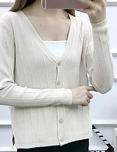 tanie Swetry damskie-Damskie Codzienny Solidne kolory Długi rękaw Regularny Sweter rozpinany, W serek Jesień Wełna Beżowy Jeden rozmiar