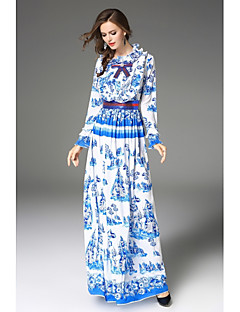 cheap Maxi Dresses-SHE IN SUN Women's Daily Going out Sheath Swing Dress,Floral Stand Maxi Long Sleeves Polyester Mid Rise Inelastic Medium