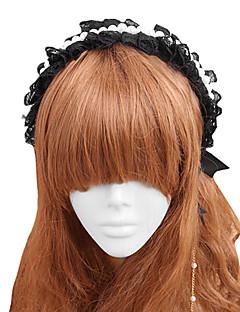 halpa -Korut Gothic Lolita Headwear Lolita Naisten Musta Lolita Tarvikkeet Pitsi Headpiece Pitsi Keinotekoiset korukiveet