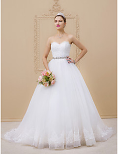 cheap Plus Size Wedding Dresses-Ball Gown Sweetheart Neckline Chapel Train Tulle / Lace Over Tulle Made-To-Measure Wedding Dresses with Beading / Lace / Sashes / Ribbons by LAN TING BRIDE® / Open Back